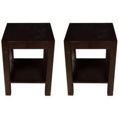 Pair of High Gloss Brown Lacquer Side Tables
