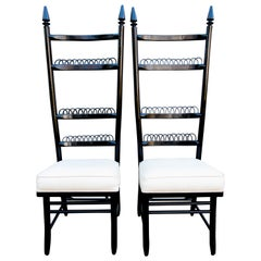 Pair of High Ladder Back Chairs