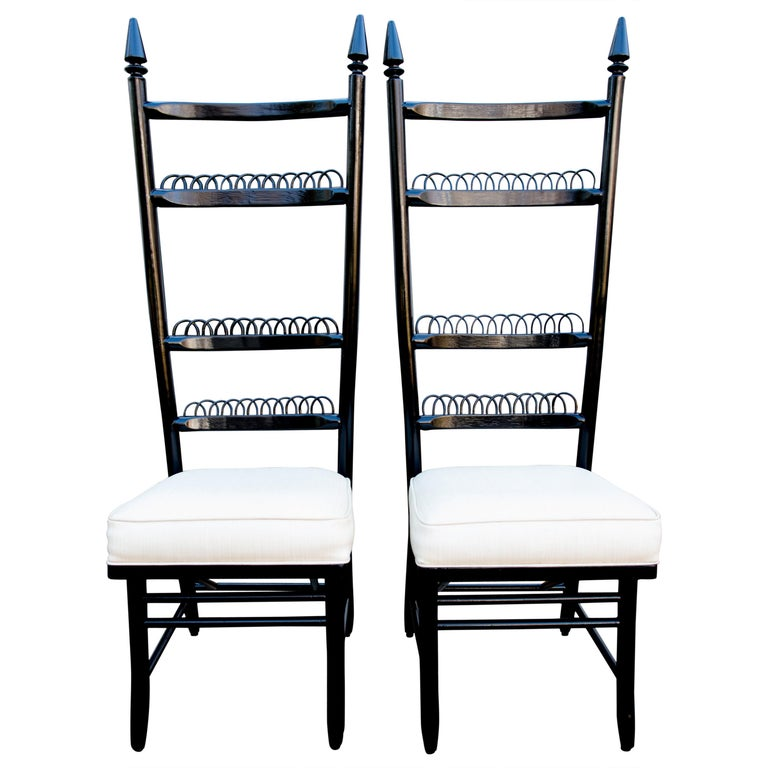 Pair of High Ladder Back Chairs For Sale