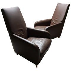 Pair of High Quality Mocca Leather Lounge Chairs by Molinari 'marked', 1990s