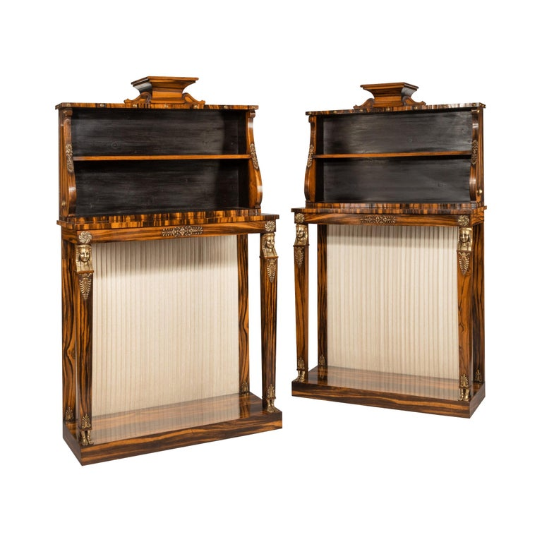 Pair of High Regency Coromandel and Ormolu Bookcase Console Tables For Sale