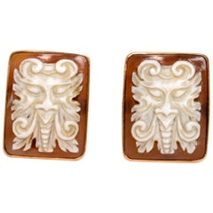 Pair of High Relief Carved Sardonyx Shell Cameo Cufflinks of a Devil, 14 Karat