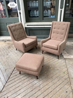 Pair of Highback Paul McCobb Style Lounge Chairs and Ottoman