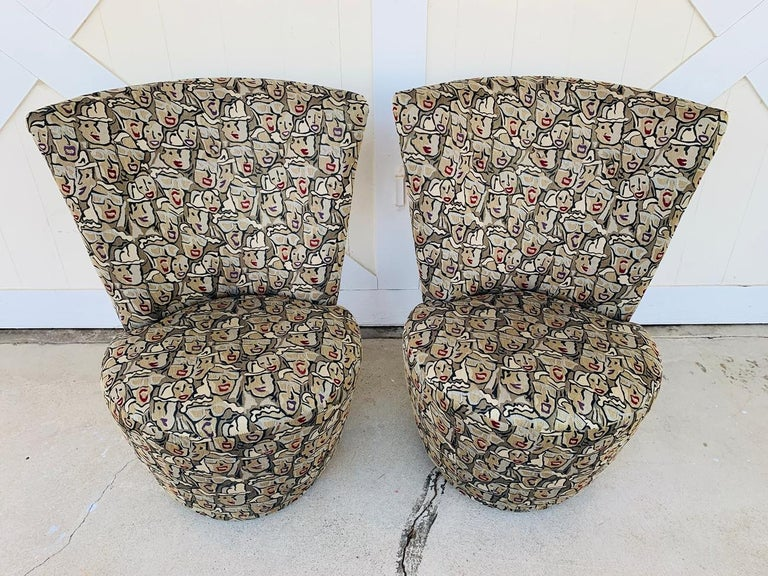 Pair of Highback Swivel Chairs by Carter Furniture 6