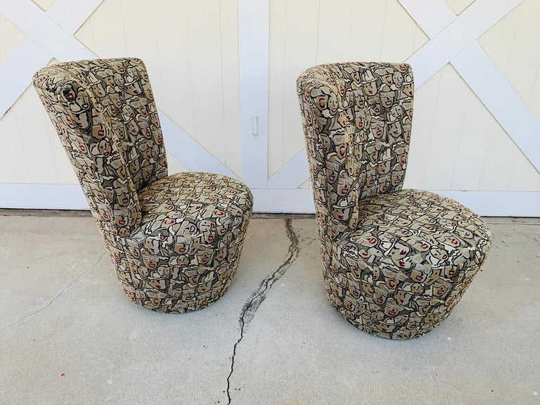 Mid-Century Modern Pair of Highback Swivel Chairs by Carter Furniture