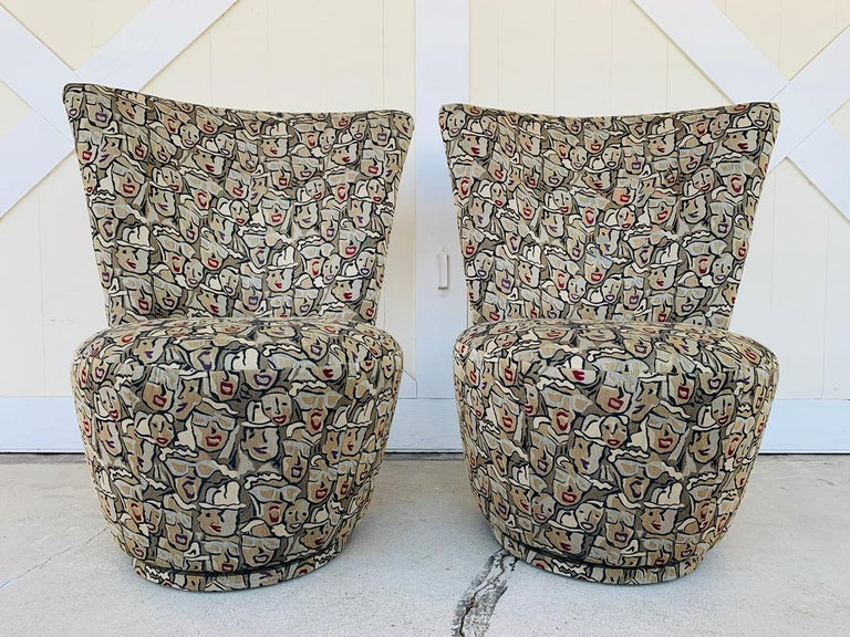 Pair of Highback Swivel Chairs by Carter Furniture In Good Condition In Los Angeles, CA
