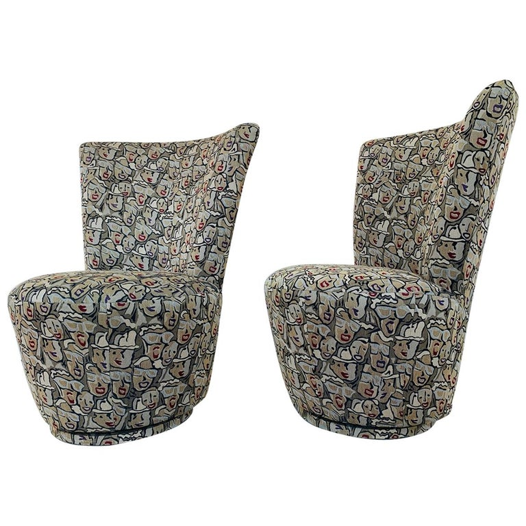 Pair of Highback Swivel Chairs by Carter Furniture