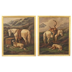 Pair of Highland Shooting Oil Paintings with Gun Dogs & Ponies by Walter Andrews