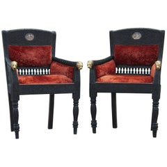 Pair of Highly Carved Anglo Indian Lounge Chairs with Brass Tiger Heads