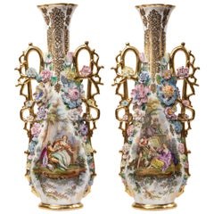 Pair of Highly Decorated Rococo Style French Porcelain Vases, Att. Jacob Petit