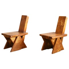 Pair of Highly Decorative Brutalist Oak Chairs or Stools, France, 1960s