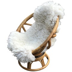 Pair of Highly Decorative Midcentury Bamboo & Rattan Easy Chairs with Sheepskins