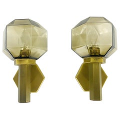 Pair of Hillebrand Brass and Amber Glass Wall Lamps, Germany, 1960s
