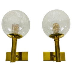 Pair of Hillebrand Brass and Glass Wall Lamps, Germany, 1960s