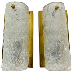 Pair of Hillebrand Brass and Ice Glass Wall Lamps, Germany, 1960s
