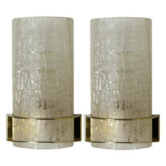 Pair of Hillebrand Massive Crackle Glass Wall Light Fixtures, 1960