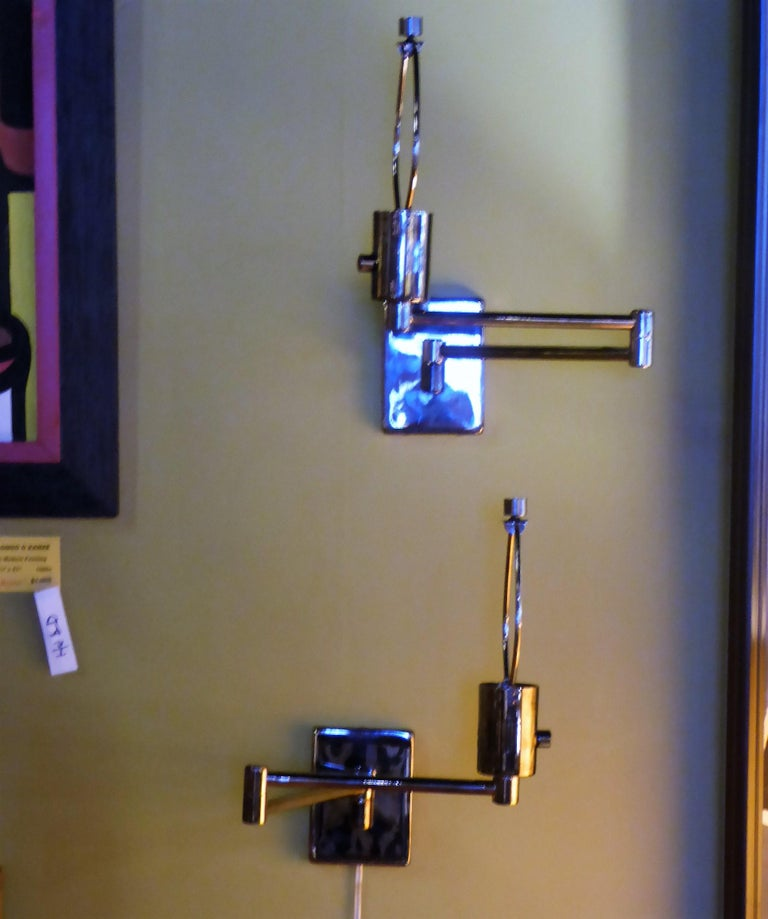 Pair Of Simple Church Lights For Sale: Pair Of Hinson Swing Arm Wall Lights In Bright Gunmetal