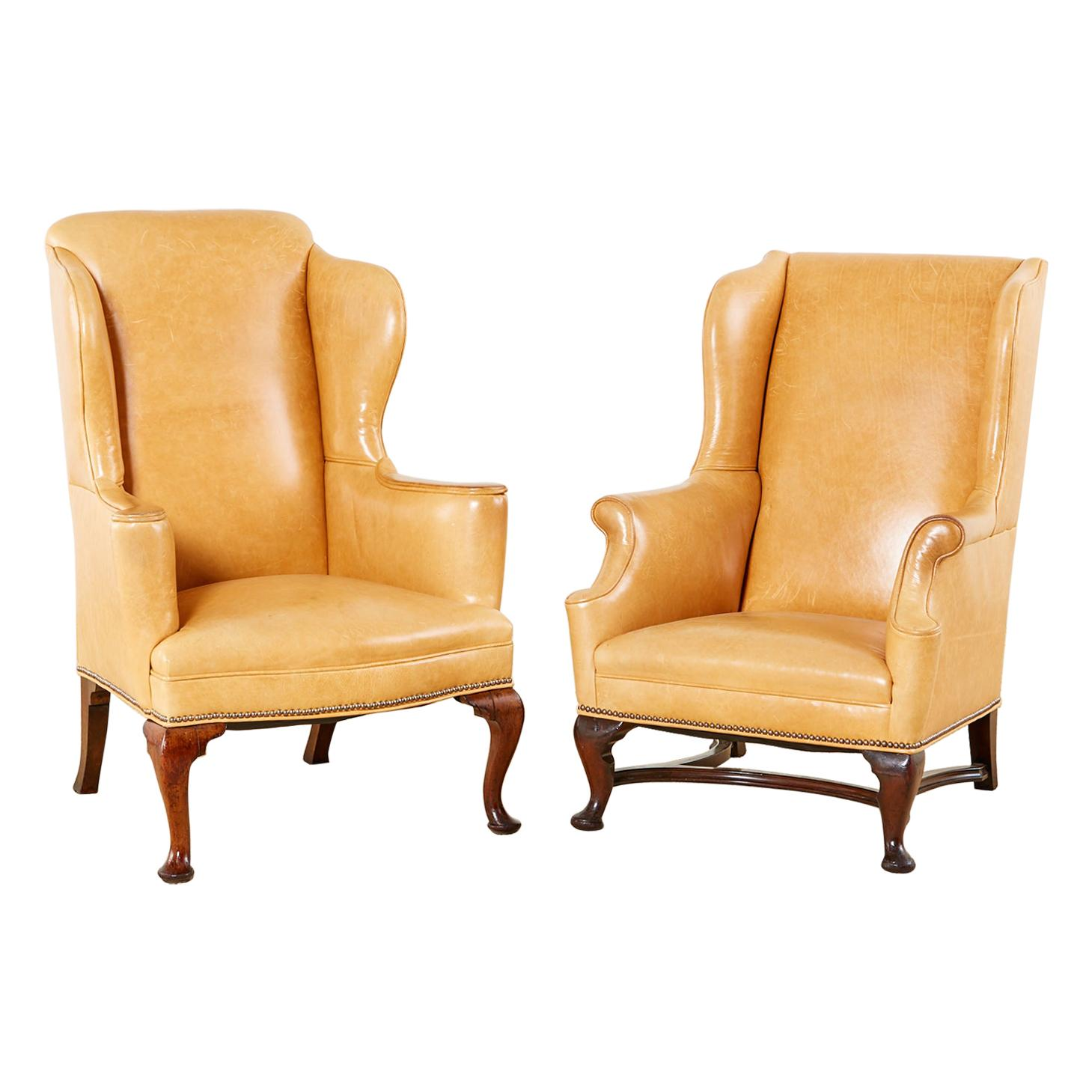 Pair of His and Hers Queen Anne Style Leather Wingbacks