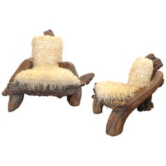 "Pair of ""His & Hers"" California Craft Organic Wood Armchairs"