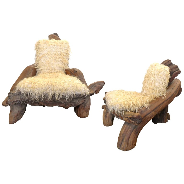 """Pair of """"His & Hers"""" California Craft Organic Wood Armchairs For Sale"""