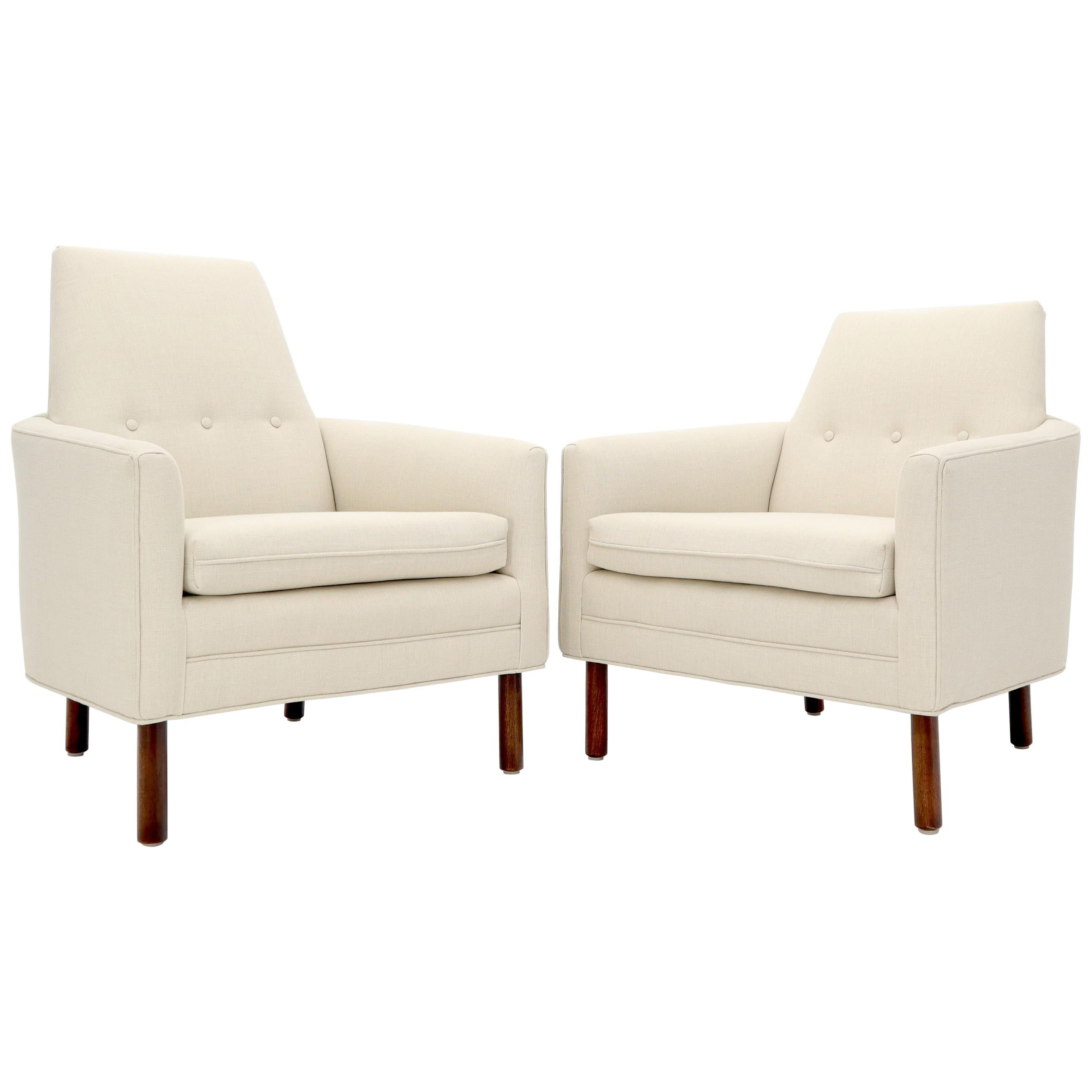 Pair of His & Hers Probber Style Lounge Chairs New Linen Upholstery