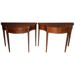 Pair of Historic Charleston Demilune Console Tables by Baker