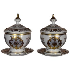 Pair of Historical Bohemian Opal Glass Bomboniers Gold Paint Ottoman Market
