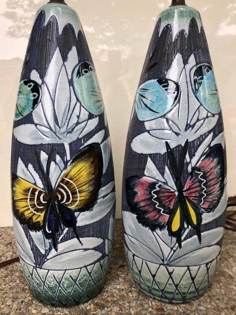 Swedish Pair of Hoganas Keramik Studio Table Lamps For Sale