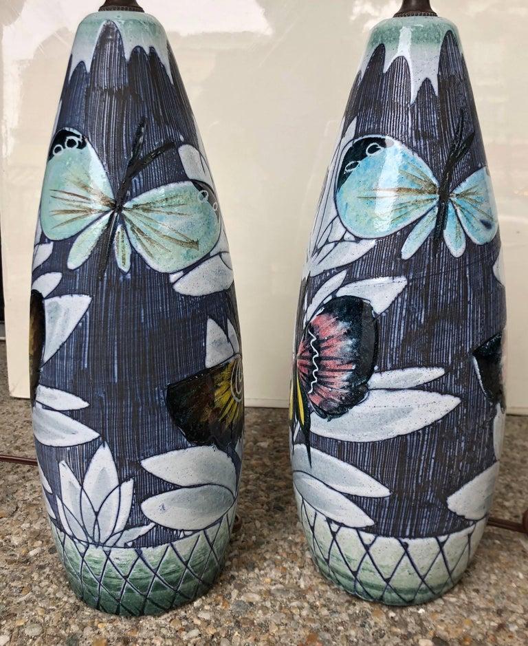 Ceramic Pair of Hoganas Keramik Studio Table Lamps For Sale