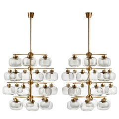 Pair of Holger Johansson Chandeliers with 24 Smoked Glass Shades, Sweden