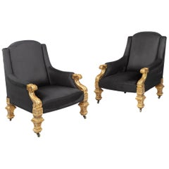 Pair of Holland & Sons 19th Century Giltwood Armchairs