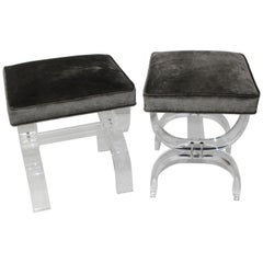 Pair of Hollis Jones Style Benches Lucite and Crushed Velvet