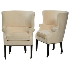 "Pair of Holly Hunt ""Emma"" Small Wingback Chairs in Hunt Off-White Velvet"