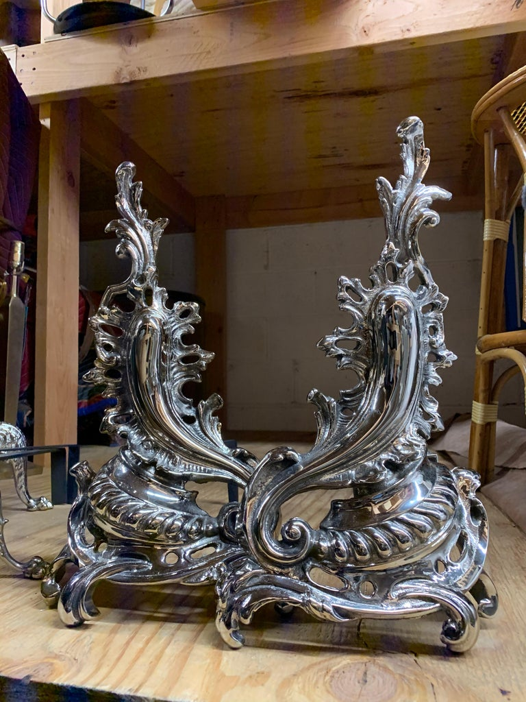 Hollywood Regency Pair of Hollywood Andirons For Sale