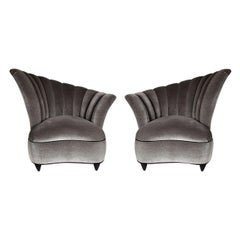Pair of Hollywood Asymmetrical Tufted Hollywood Chairs