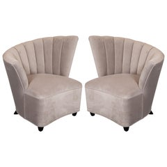 Pair of Hollywood Asymmetrical Tufted Hollywood Chairs in Smoked Topaz Velvet