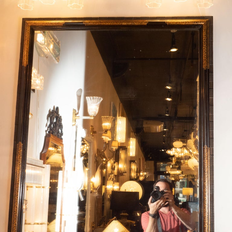 American Pair of Hollywood Dark Brown Walnut Hand Painted Gilt Églomisé Mirrors For Sale