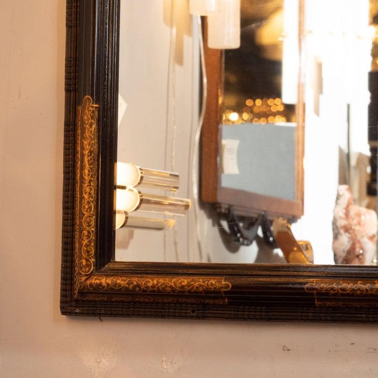 Mid-20th Century Pair of Hollywood Dark Brown Walnut Hand Painted Gilt Églomisé Mirrors For Sale