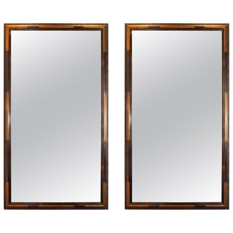 Pair of Hollywood Dark Brown Walnut Hand Painted Gilt Églomisé Mirrors For Sale