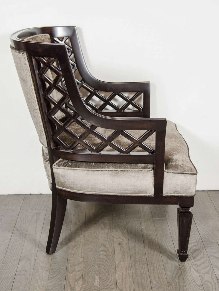 Pair of Hollywood Ebonized Walnut Lattice Occasional Chairs by Grosfeld House In Excellent Condition For Sale In New York, NY