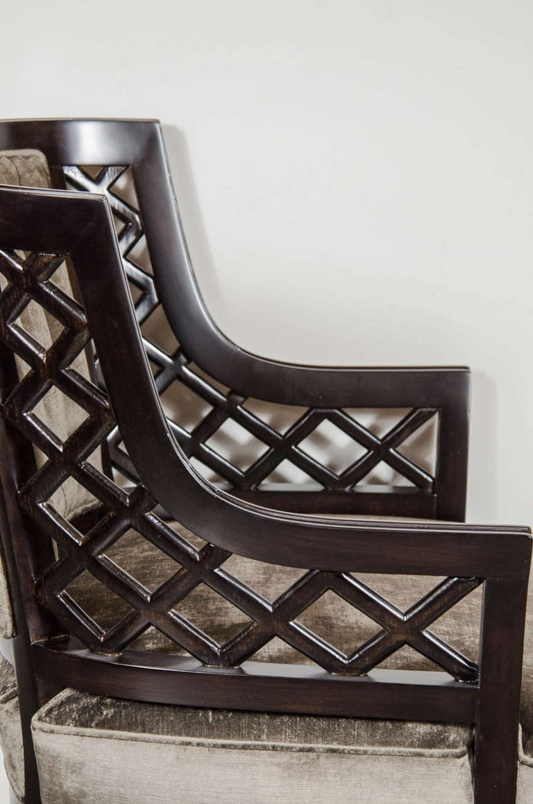 Mid-20th Century Pair of Hollywood Ebonized Walnut Lattice Occasional Chairs by Grosfeld House For Sale
