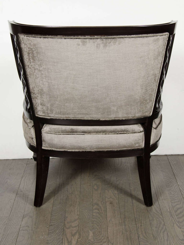Pair of Hollywood Ebonized Walnut Lattice Occasional Chairs by Grosfeld House For Sale 1