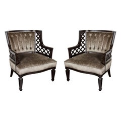 Pair of Hollywood Ebonized Walnut Lattice Occasional Chairs by Grosfeld House