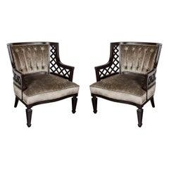 Pair of Hollywood Ebonized Walnut Lattice Occasional Chairs by Grosfeld House