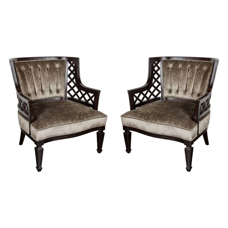 Pair of Hollywood Ebonized Walnut Lattice Occasional Chairs by Grosfeld House For Sale