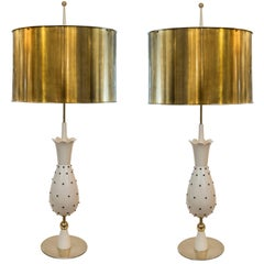 Pair of Hollywood Glam Pinapple Shapped Lamps with Brass Shades, Switzerland