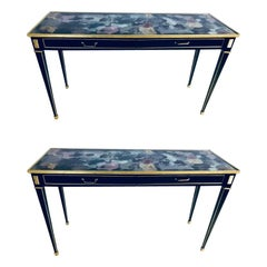 Pair of Hollywood Multi Rainbow Colored Glass Top Bronze Mounted Console Tables