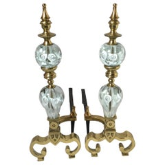 Pair of Hollywood Regency Andirons with St Clair Art Glass