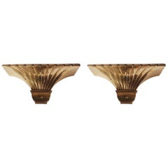 Pair of Hollywood Regency Art Deco Solid Brass Wall Sconces in a Shell Form
