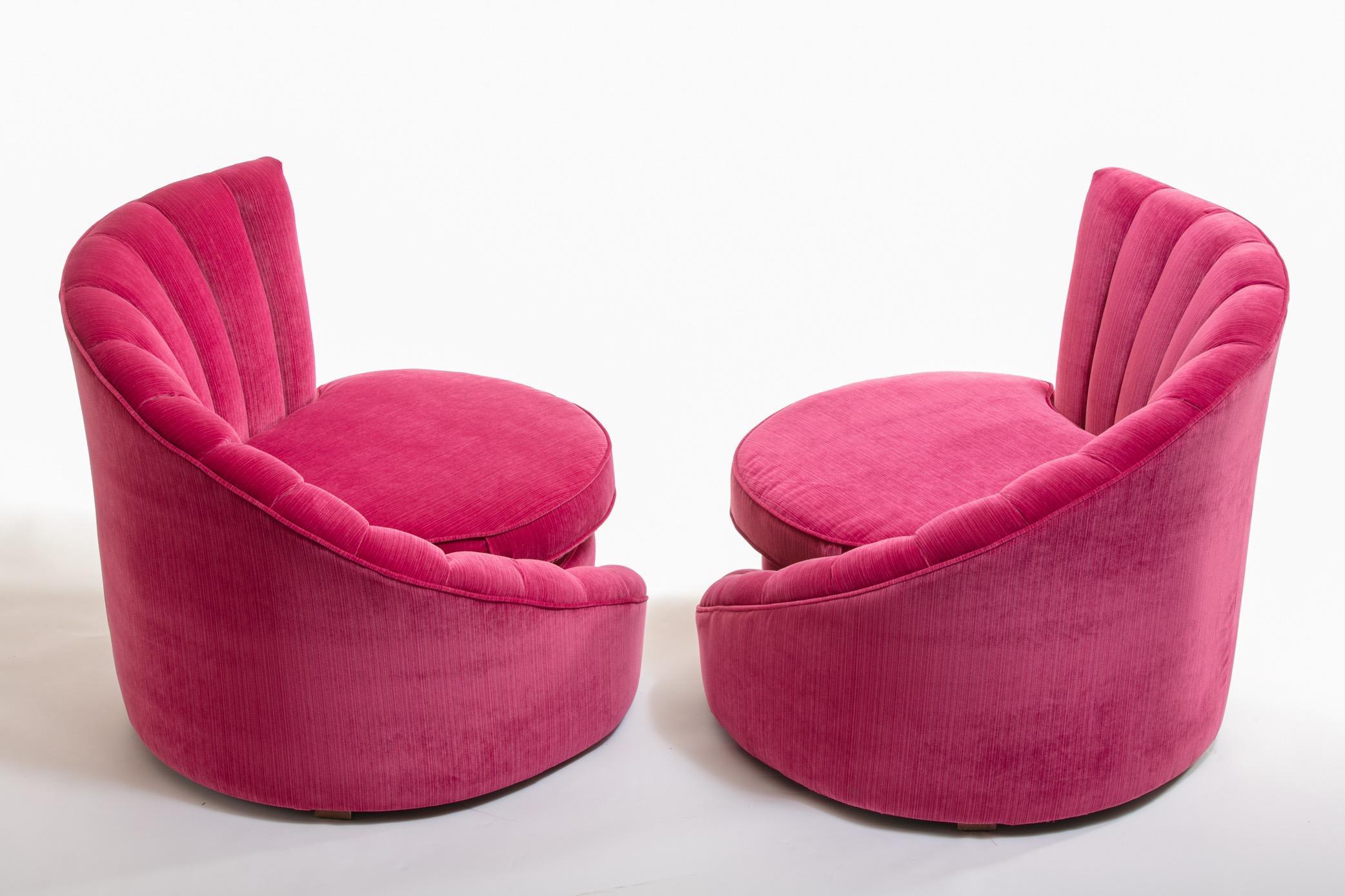 Pair Of Hollywood Regency Asymmetrical Slipper Chairs In Hot